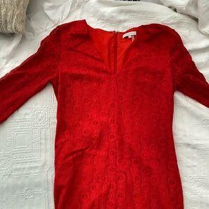 1 STATE v-neck red lace dress!